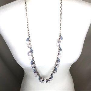 Ann Taylor loft silver/purple beaded necklace